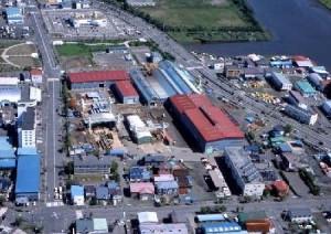 本社、本社工場の航空写真